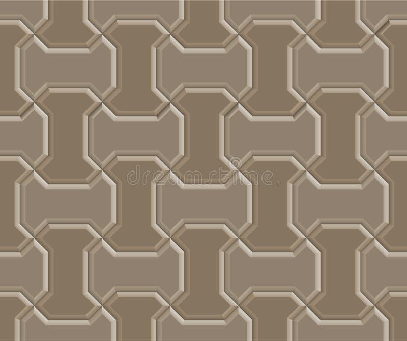 3D worm brick pavement. 3D clay worm brick pavement pattern texture tile of walkway, sidewalk, pathway, vector design stock illustration