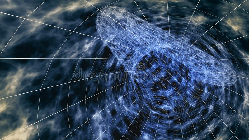 3D Wormhole abstract. 3D Rendering of an exotic wormhole abstract representation, for fantasy games or science fiction illustrations of interstellar travel vector illustration