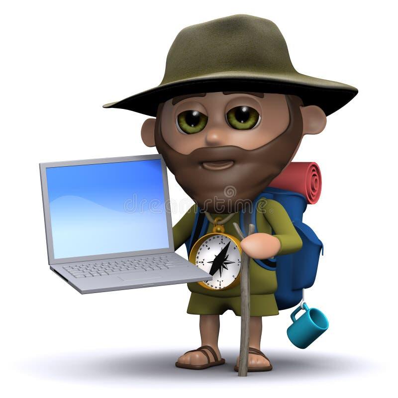 3d wycieczkowicz używa laptopu komputer osobistego ilustracji