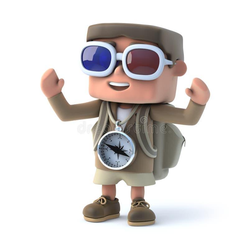 3d wycieczkowicza dzieciak jest ubranym 3d szkła ilustracja wektor