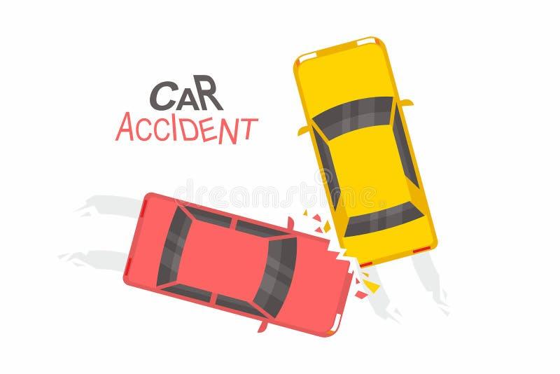3d wypadkowa samochodowa ilustracja odizolowywający odpłacający się biel Odgórny widok ilustracja wektor