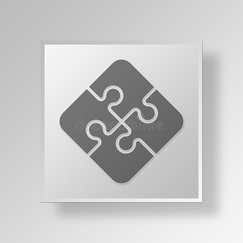 3D wyrzynarki łamigłówki guzika ikony pojęcie ilustracji
