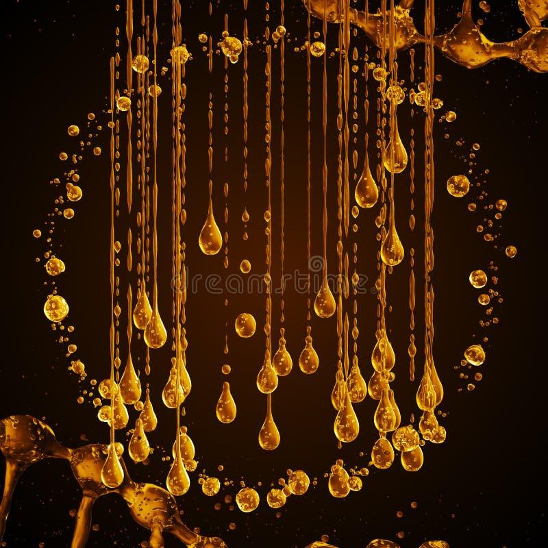 3D wyszczególniająca ilustracja kropla wodny złocisty kolor ilustracja wektor