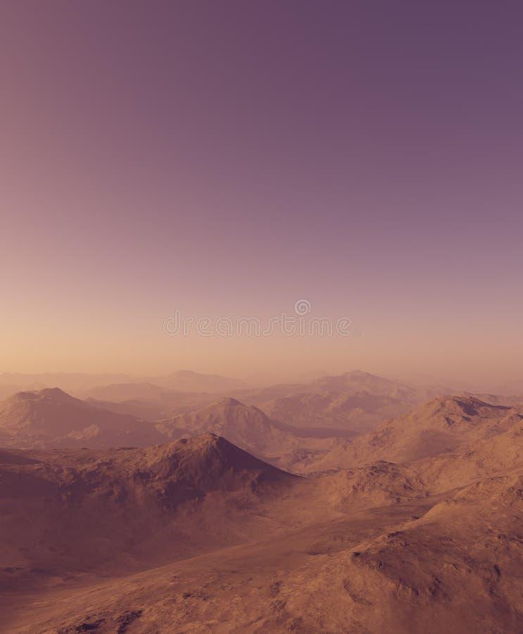 3d wytwarzający opróżniają krajobraz: Mgliste góry w wieczór słońcu zdjęcie stock