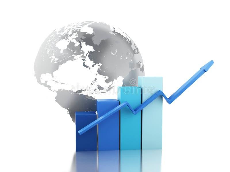 3d Wzrostowa mapa z kulą ziemską Biznesu i gospodarki pojęcie ilustracji