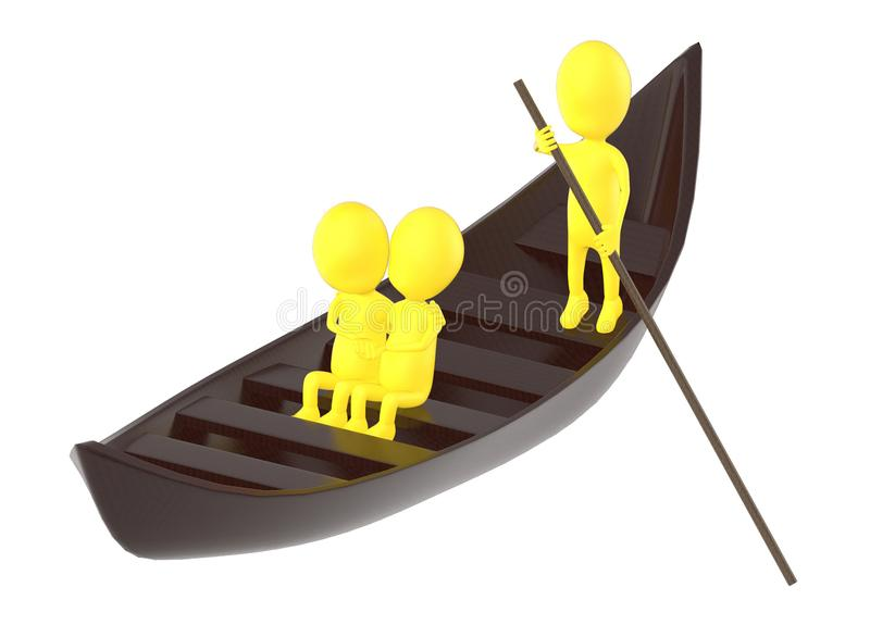 3d yellow character , couples on boat , while another characer r royalty free illustration