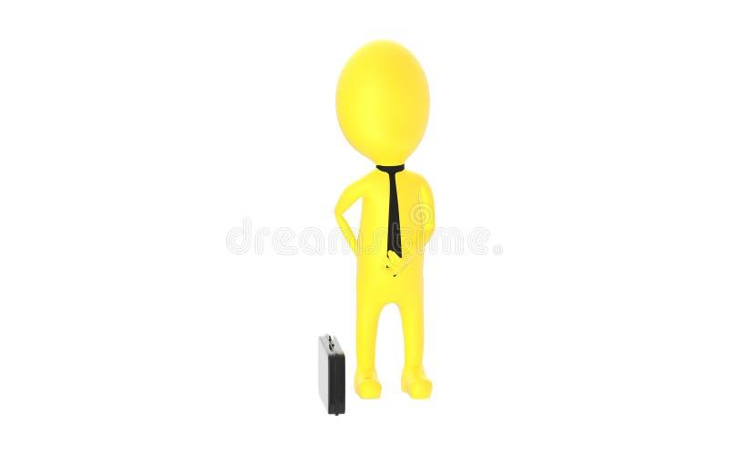 3d yellow character explaining vector illustration