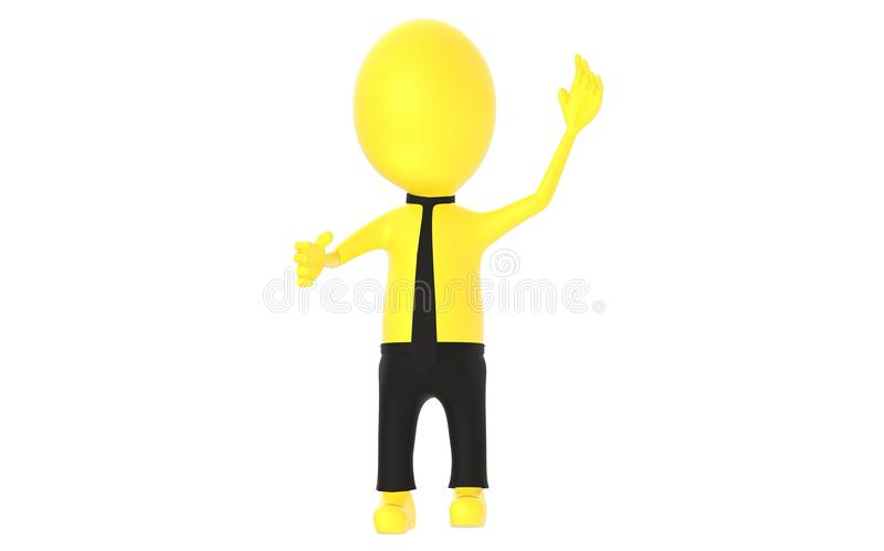3d yellow character , explaining. 3d rendering royalty free illustration