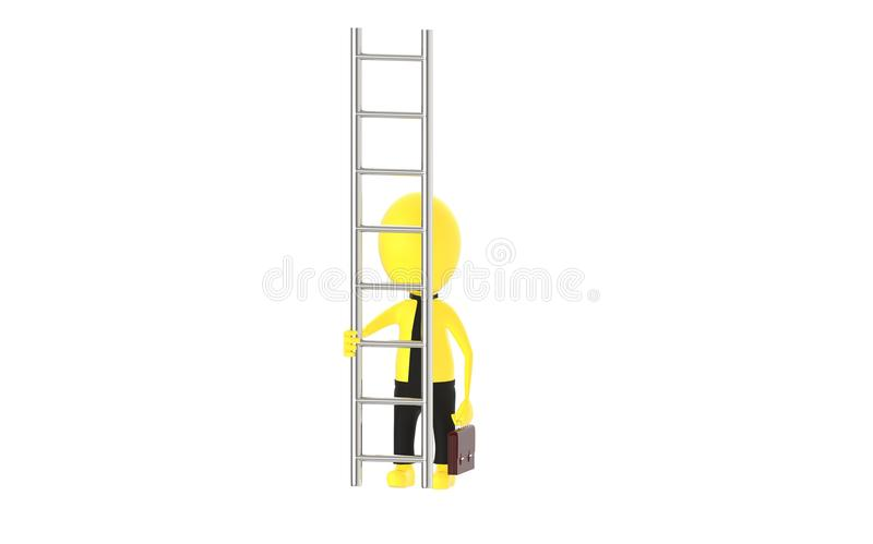 3d yellow character holding briefcase and standing in front of a ladder - way to climb success concept. 3d rendering vector illustration