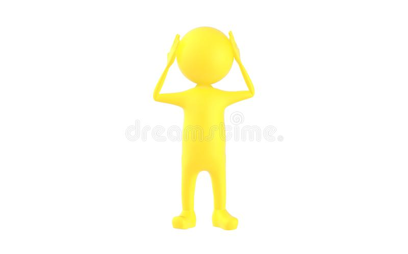 3d yellow character holding his hands on his head stock illustration