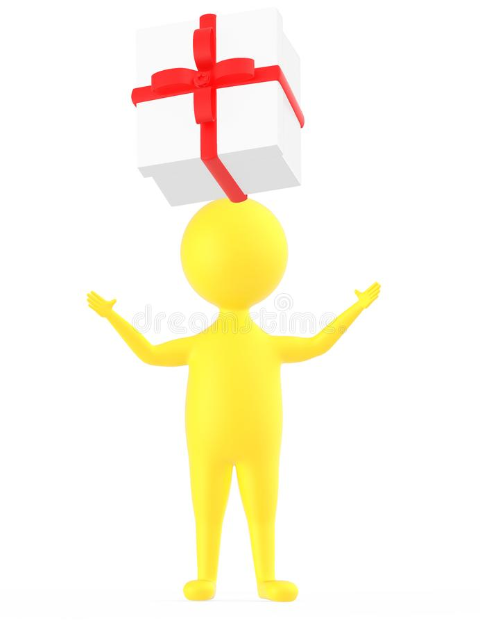 3d yellow character is about to catch a wrapped gift box royalty free illustration