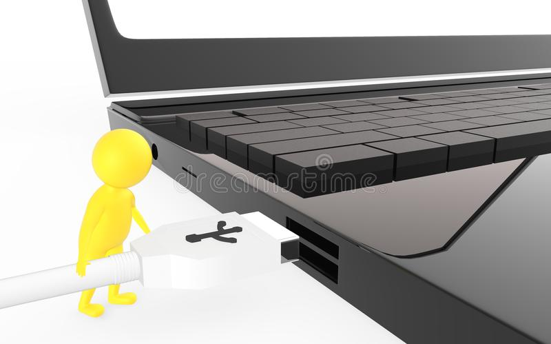 3d yellow character is about to plug in a usb cable to a device usb port. Isolated in white background - 3d rendering vector illustration