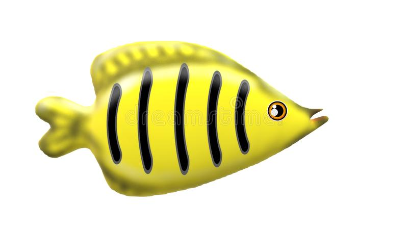 3D Yellow fish with white background royalty free stock image