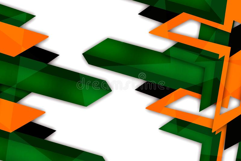 3d yellow and green x shape overlap abstract background. Creative background stock illustration
