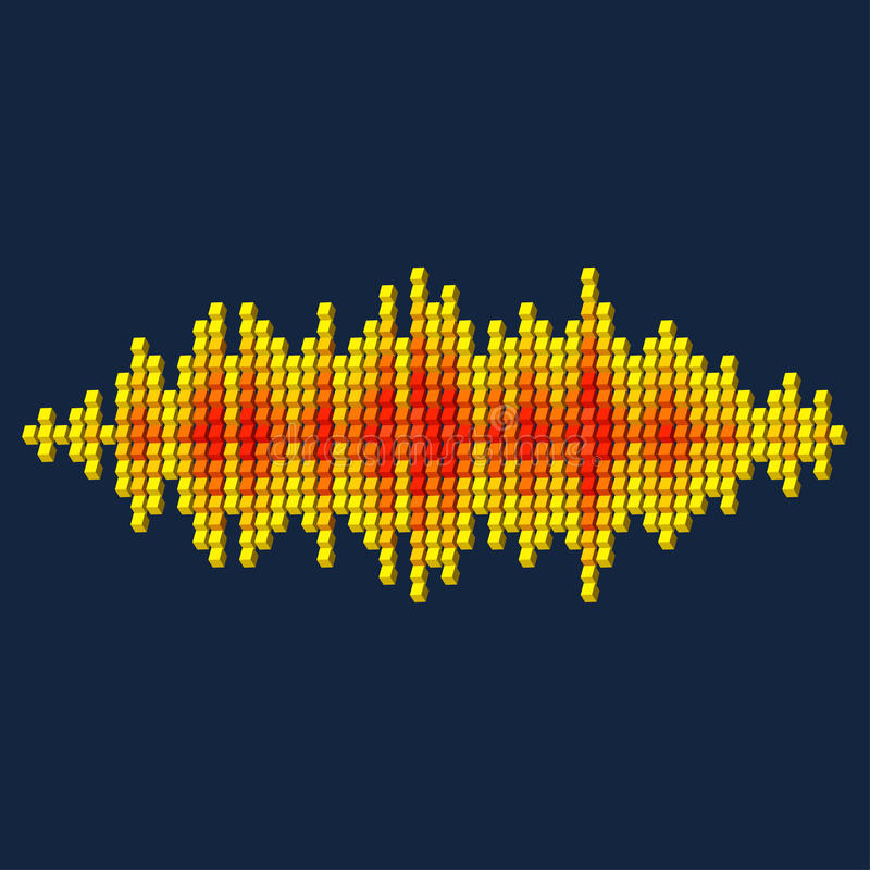 3D yellow sound waveform made of cubes. 3D yellow sound waveform made of cube pixels vector illustration