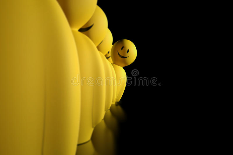 3d yellow stylized character aligned in a row. A 3d yellow stylized character aligned in a row is displaced to watch ahead on a black background vector illustration