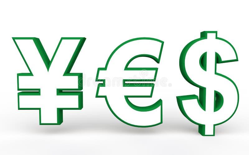3d Yen Euro And Dollar Symbols Making Yes Stock Illustration