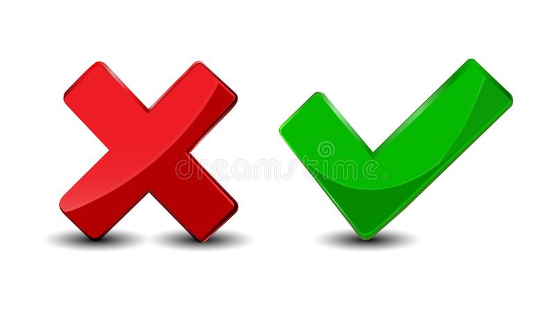 Yes vs No. What Prevails? Vector Icons Set stock illustration