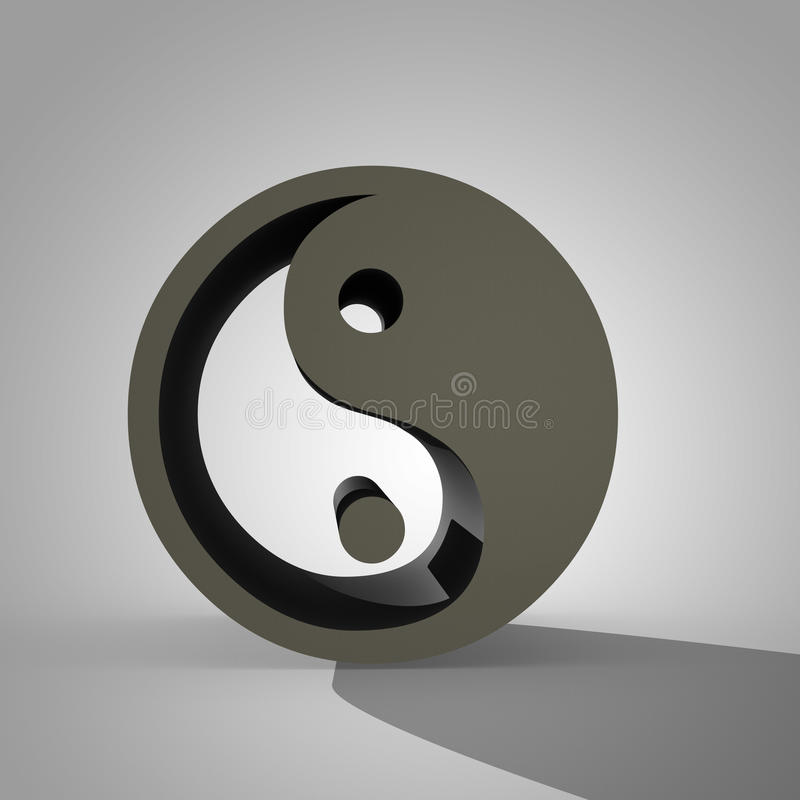 3d Yin and Yang sign, Chinese symbol of Taoism. 3d Yin and Yang sign, dual Chinese symbol of Taoism and concept of equilibrium between two main complementary royalty free illustration