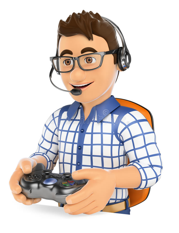 3D Young gamer playing console online game vector illustration