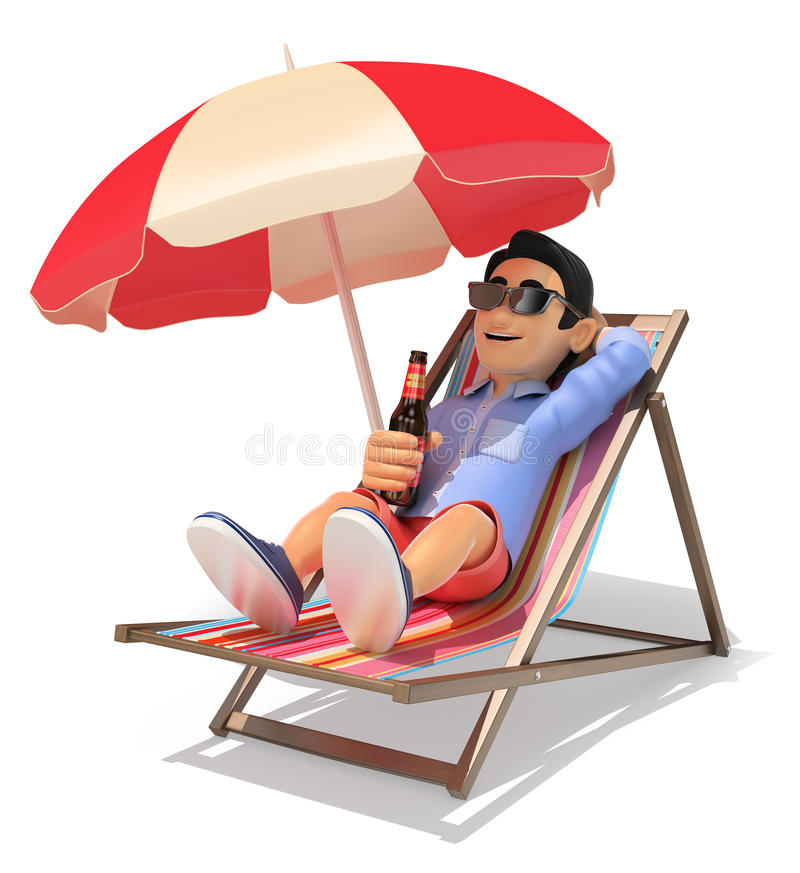 3D Young man in shorts in the beach drinking beer stock illustration
