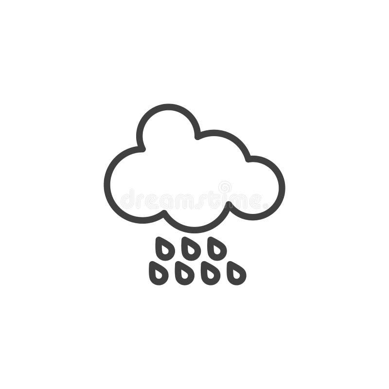 D?d?ysta chmury linii ikona ilustracja wektor