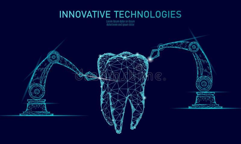 3d zębu innowaci robota ręki poligonalny pojęcie Stomatology symbolu niskiego poli- trójboka abstrakcjonistyczna oralna stomatolo royalty ilustracja