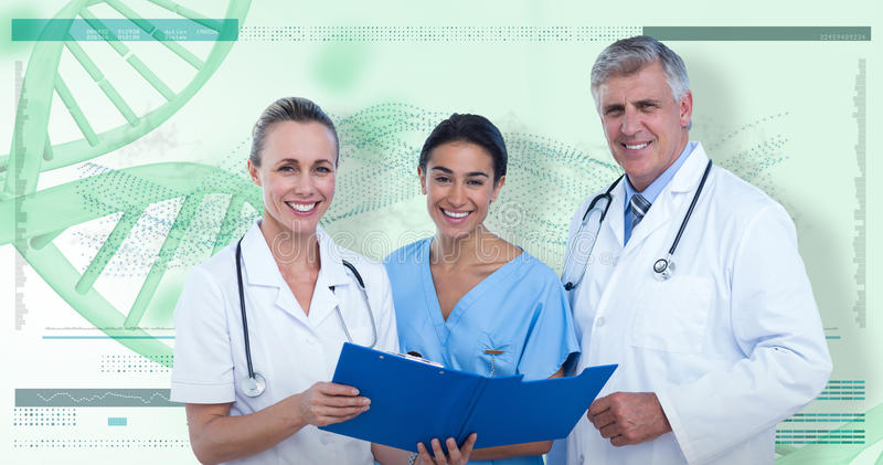 3D Złożony wizerunek portret szczęśliwe lekarki i pielęgniarka z schowkiem fotografia stock