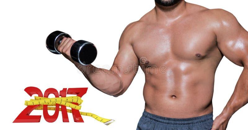 3D Złożony wizerunek w połowie sekcja bodybuilder z dumbbell obrazy stock