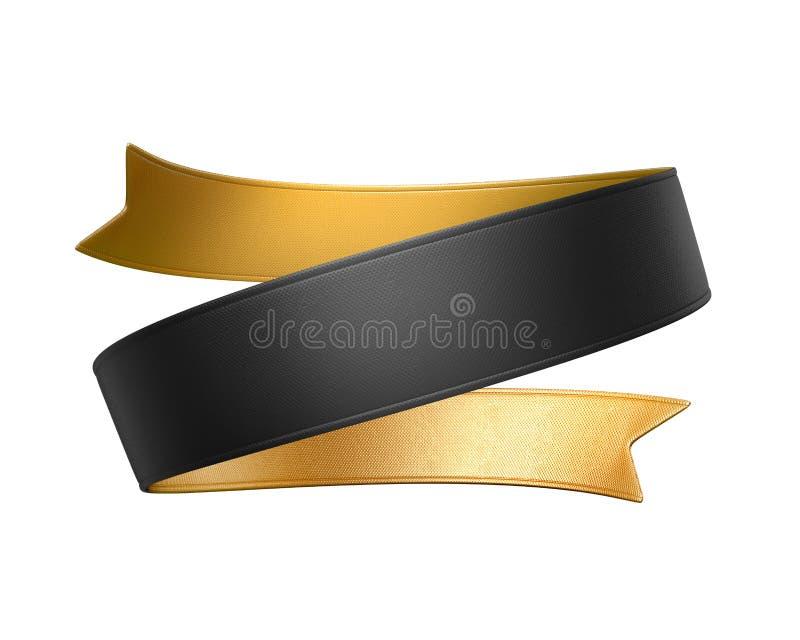 3d złocista czarna tasiemkowa etykietka odizolowywająca na białym tle ilustracja wektor