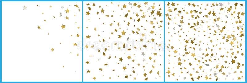 3d złota i srebra gwiazd confetti świętowania Prosty świąteczny nowożytny projekt Wakacyjny wektor Set 3 w 1 ilustracji