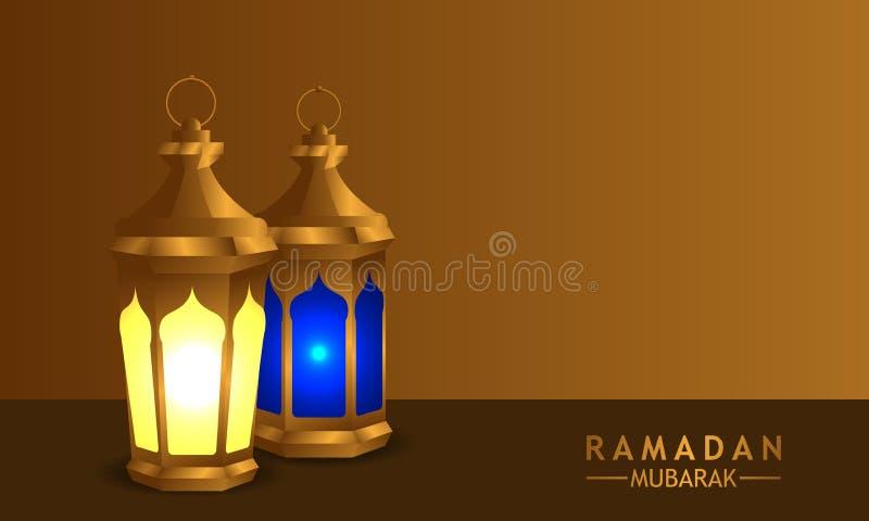3D złota realistyczna fanous arabska latarniowa lampa z złocistym tłem royalty ilustracja