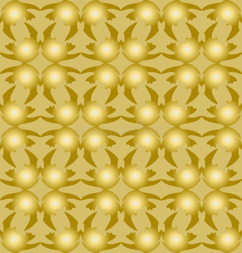3d złota wzory komponowali nierówni kształty na lekkim złocistym tle, bezszwowa płytka Nowożytny ornament, luksusowy złoty royalty ilustracja