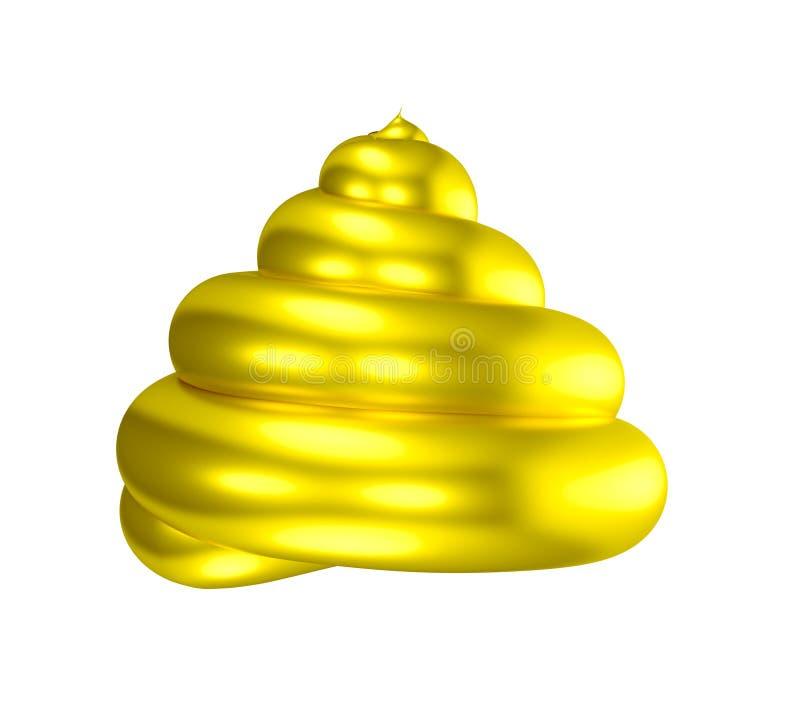3D Złotego kaku błyszczący gówno ilustracja wektor