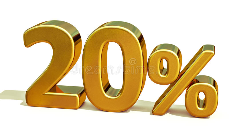 3d 20 złoto Dwadzieścia procentów rabata znak obrazy royalty free