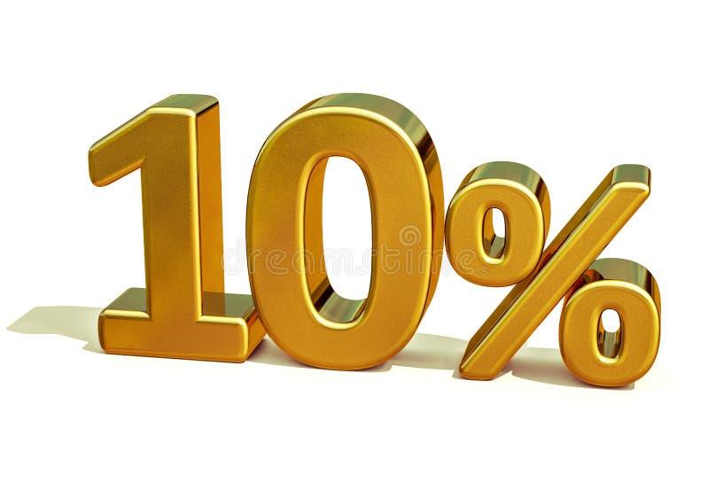3d 10 złoto Dziesięć procentów rabata znak obraz royalty free