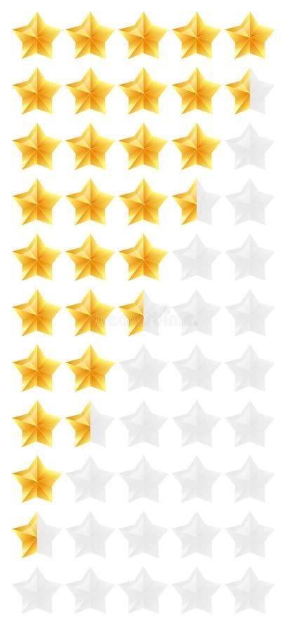 3D złoto gra główna rolę ratingowego ikona set Odosobniony ilości tempa status równy dla sieci lub app od pięć zero również zwróc ilustracja wektor
