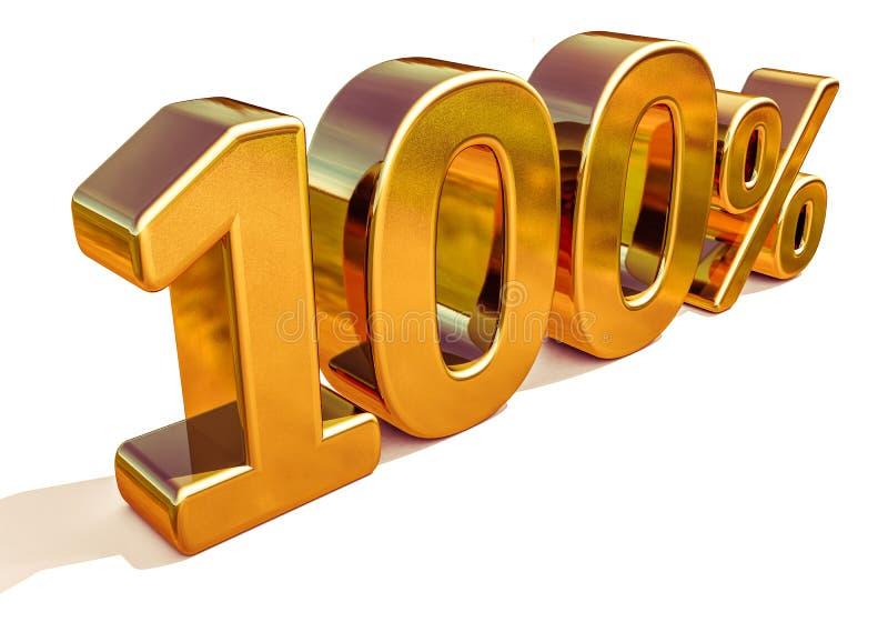 3d złoto 100 Sto procentu rabata znak zdjęcia royalty free