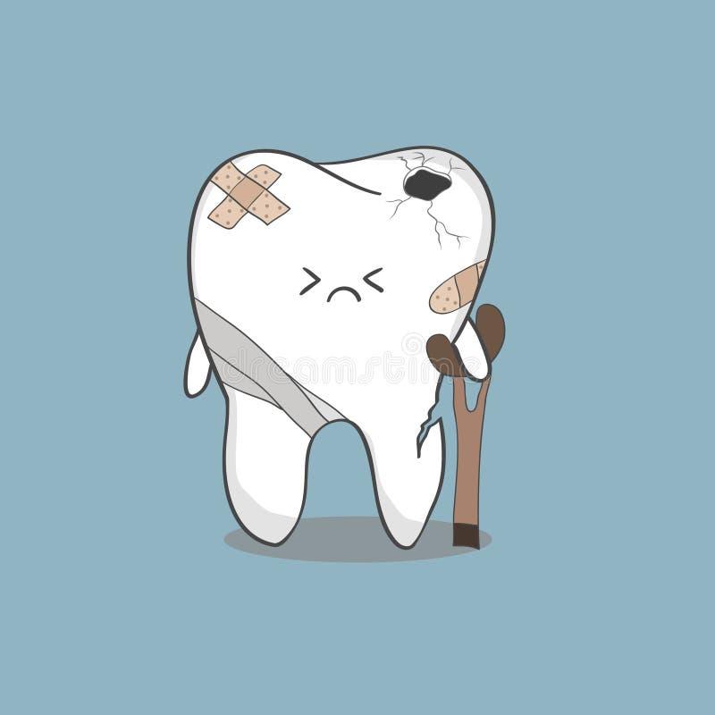 3d zły ilustraci odosobniony stomatology ząb ilustracja wektor