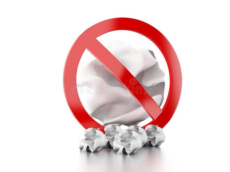 3d zakazujący szyldowy miotanie grat podłoga royalty ilustracja