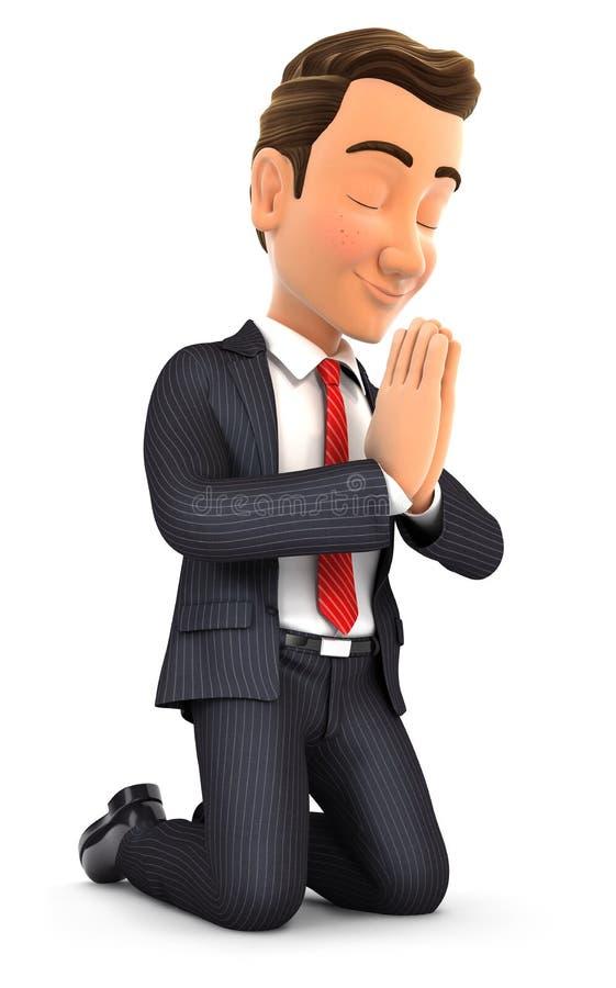 3d zakenman bij zijn knieën het bidden royalty-vrije illustratie