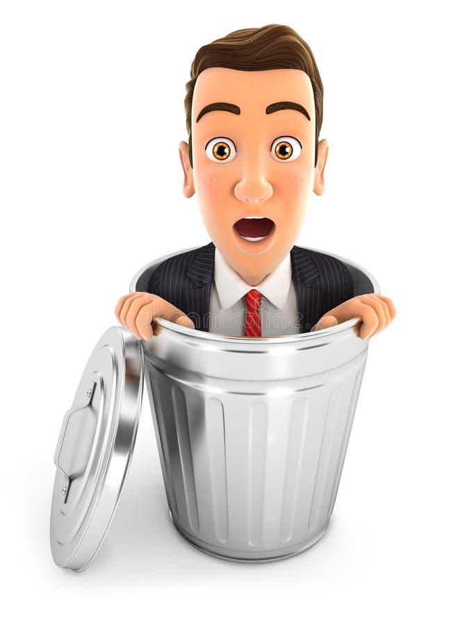 3d zakenman binnen vuilnisbak royalty-vrije illustratie