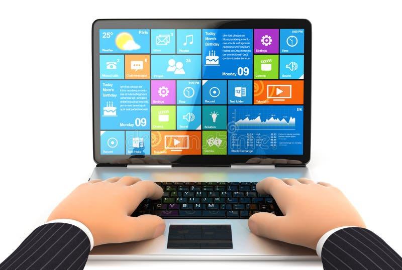 3d Zakenman die aan laptop werken vector illustratie