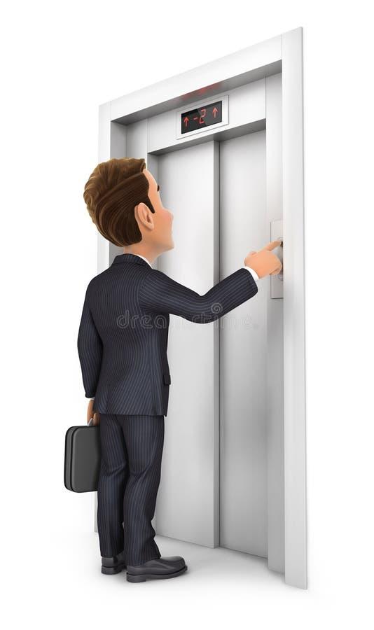3d zakenman die de lift roepen vector illustratie