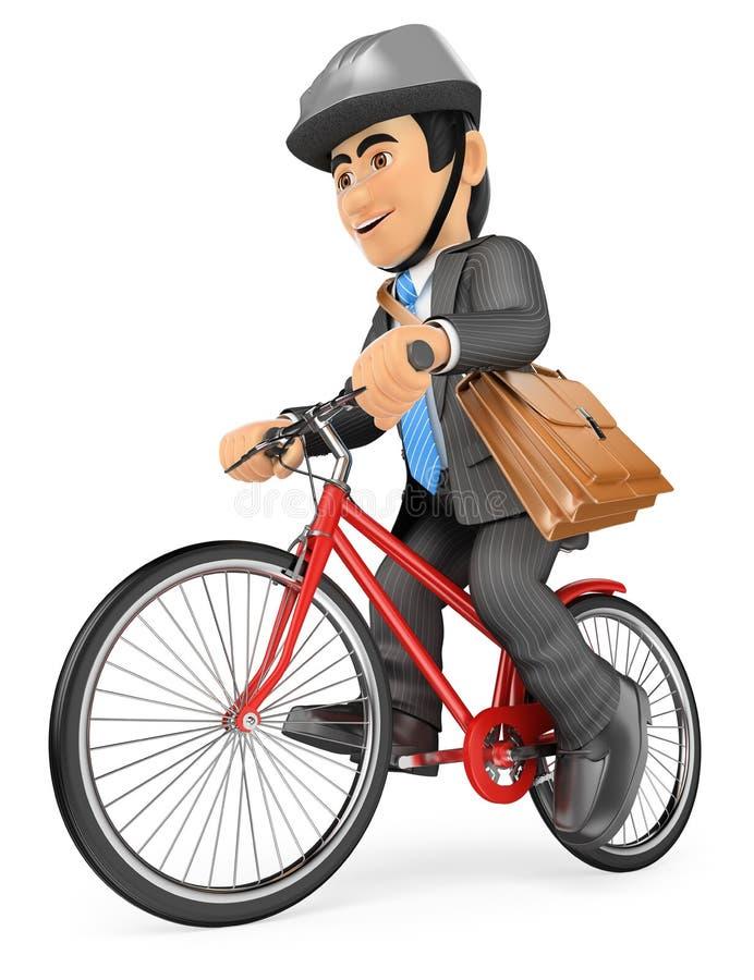 3D Zakenman die door fiets gaan werken stock illustratie