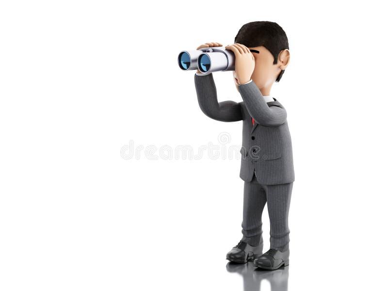 3D Zakenman die door verrekijkers kijken vector illustratie