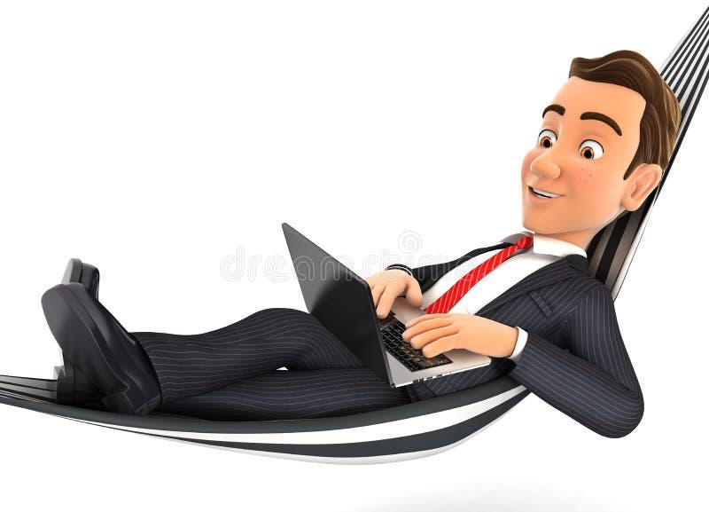 3d zakenman die in hangmat liggen en aan laptop werken stock illustratie