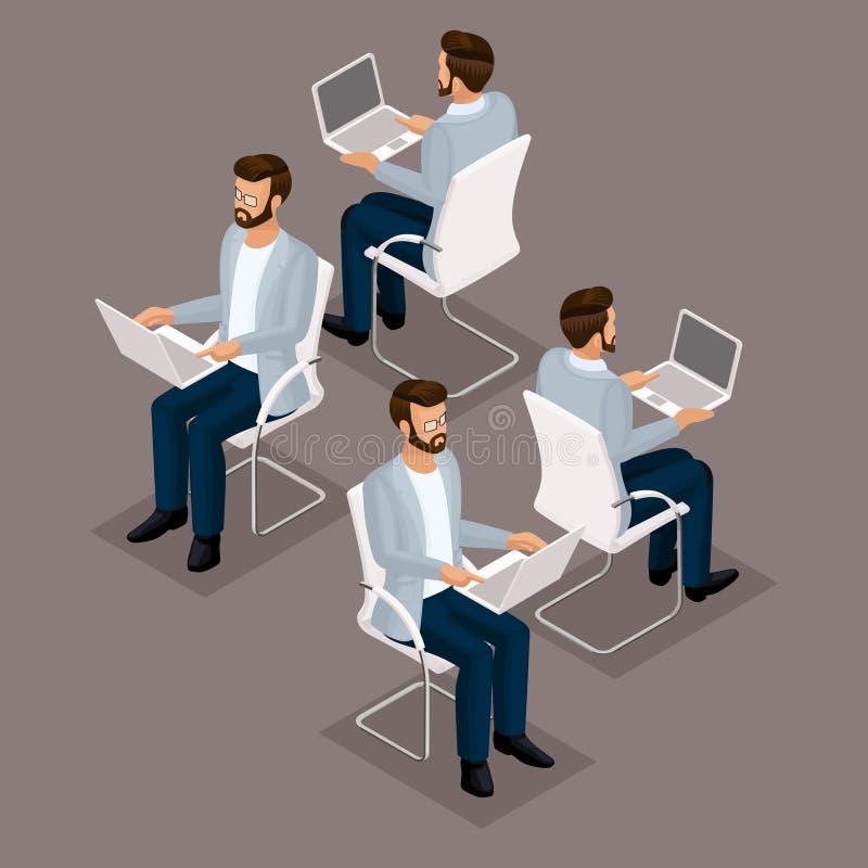 3D zakenman die van tendens de Isometrische mensen bij zijn bureau aan een laptop vooraanzicht, achtermening, glazen, modieus kap royalty-vrije illustratie