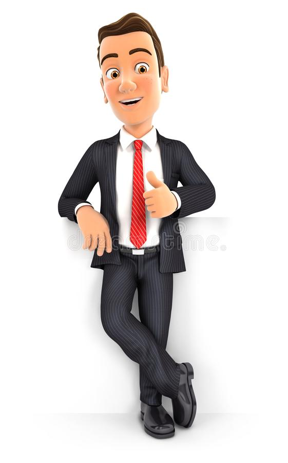 3d zakenman die zich voor muur met omhoog duim bevinden royalty-vrije illustratie