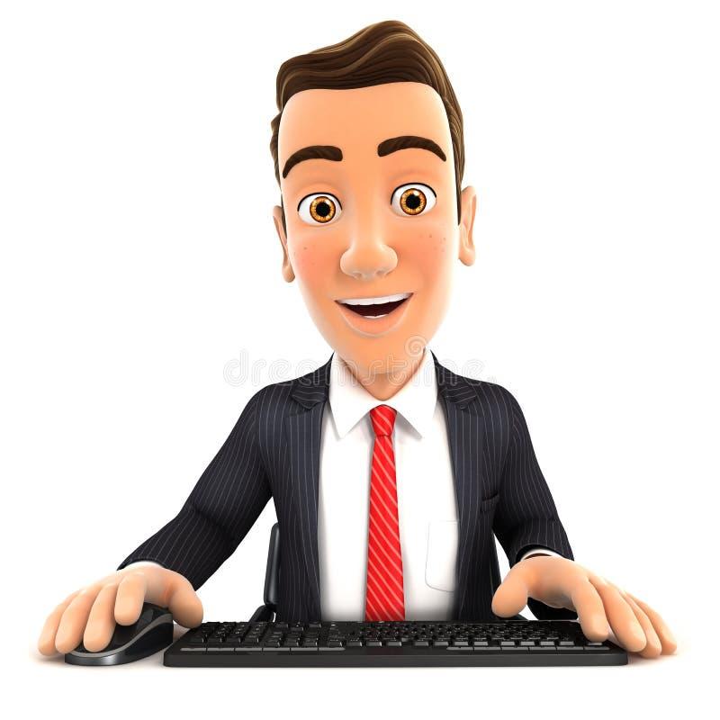 3d zakenman die zijn computer bekijken vector illustratie